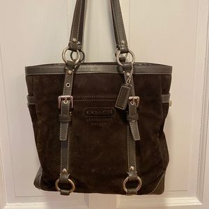 Coach brown suede small tote